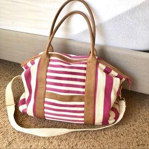 Merona Large Pink/cream tote w/shoulder strap